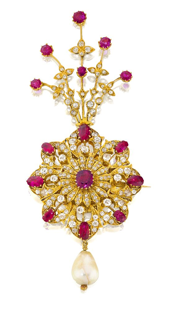 A diamond- and ruby-set gold sarpech formerly the property of the Maharaja of Patiala, Bhupinder