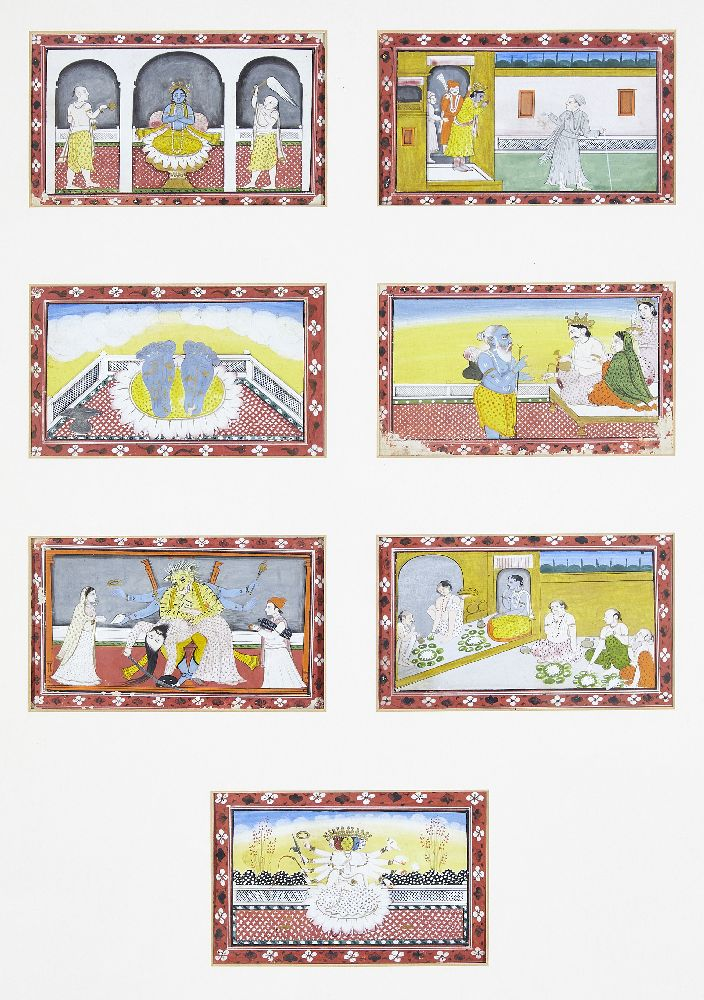 A series of twenty-one illustrations from a small manuscript, Kangra, India, circa 1800, opaque - Image 5 of 6