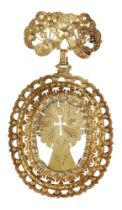 A gold pendant, Goa, Southwest India, late 17th-early 18th century, of openwork oval form, the