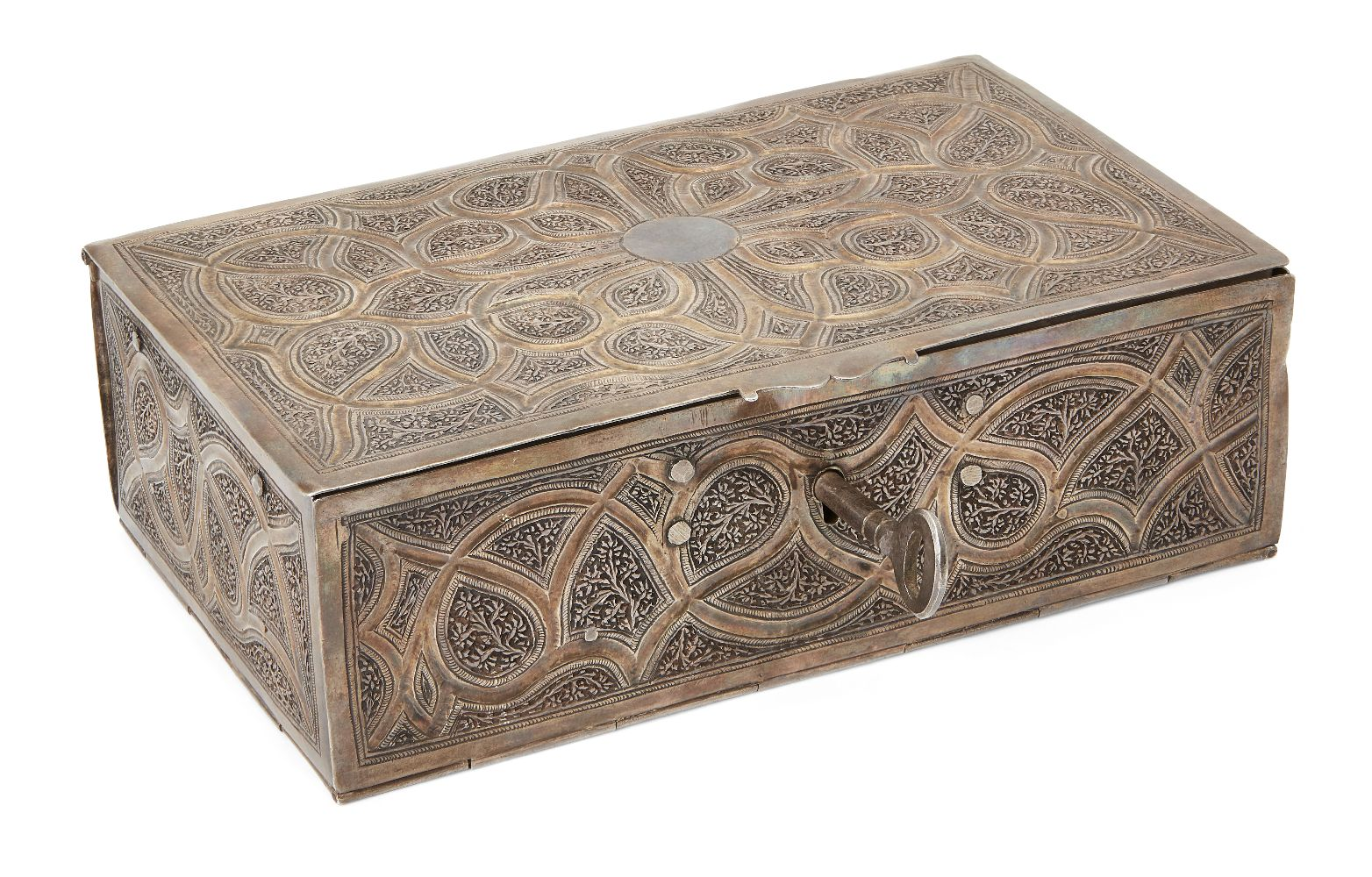 A lidded cosmetics box in gilded silver, Kashmir, North India, circa 1900, of rectangular form,