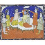 An illustration from a Kashmiri manuscript, North India, 19th century, opaque pigments on paper,
