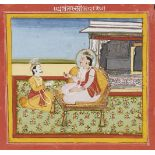 An illustration to the Mahabharata, Jaipur, circa 1790, opaque pigments on paper, 14 x 14.7cm