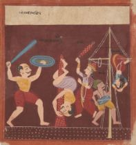 An illustration from an unusual Ragamala Series, India, Gujarat, circa 1800, opaque pigments on