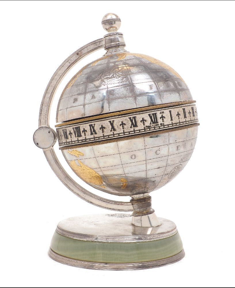 A plated globe desk clock 'The Greenwich Meridian Clock' retailed by Mappin & Webb, 1920s,