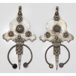 A pair of Berber cloak fibulas, 'tizerzai', Tiznit Morocco, each of triangular form, with curved