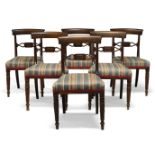A set of six Regency cherry wood bar back dining chairs, with splat rail centred by rectangular