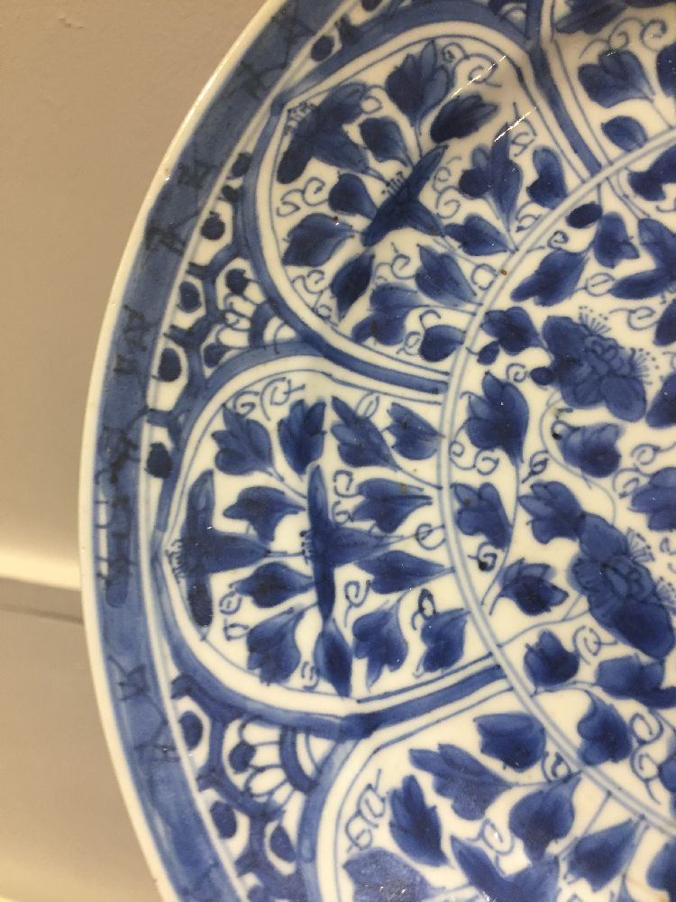 WITHDRAWN. Three Chinese porcelain dishes, Kangxi period, painted in underglaze blue with central - Image 21 of 35