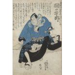 Utagawa Kuniyoshi, Japanese 1797-1861, three woodblock prints in colours, depicting kabuki actors
