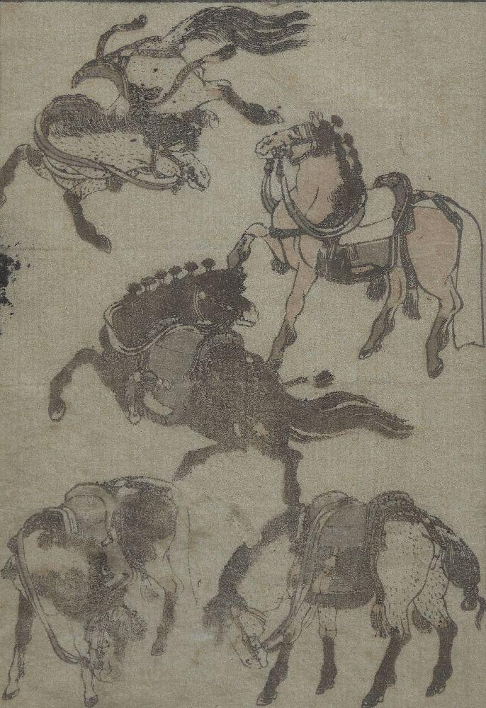 Katsushika Hokusai, Japanese 1760-1849, Hokusai Manga Plate, 19th century, a book plate depicting