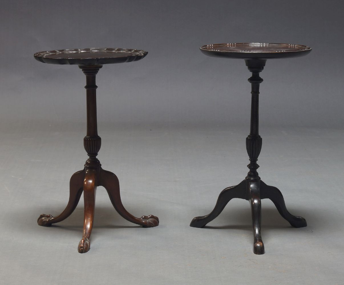 A George II style mahogany wine table, 19th Century, the circular pie crust top, on turned