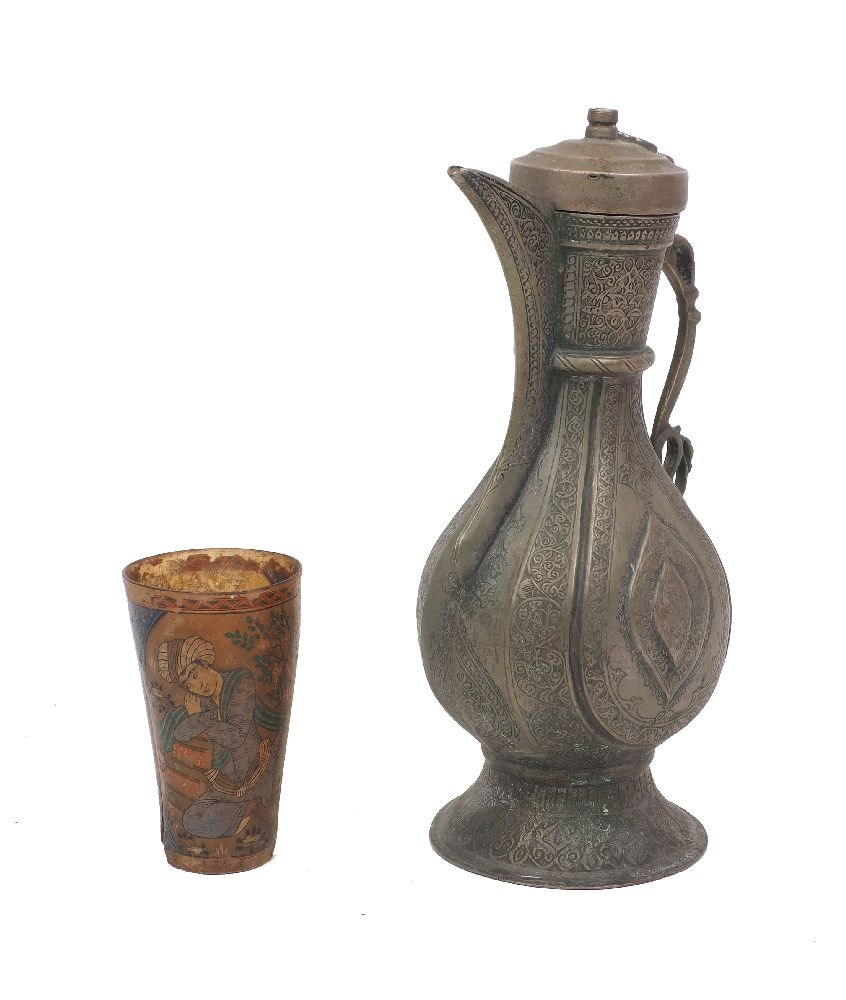 A painted horn drinking beaker, Iran, early 20th century, decorated with men sat in a wooded