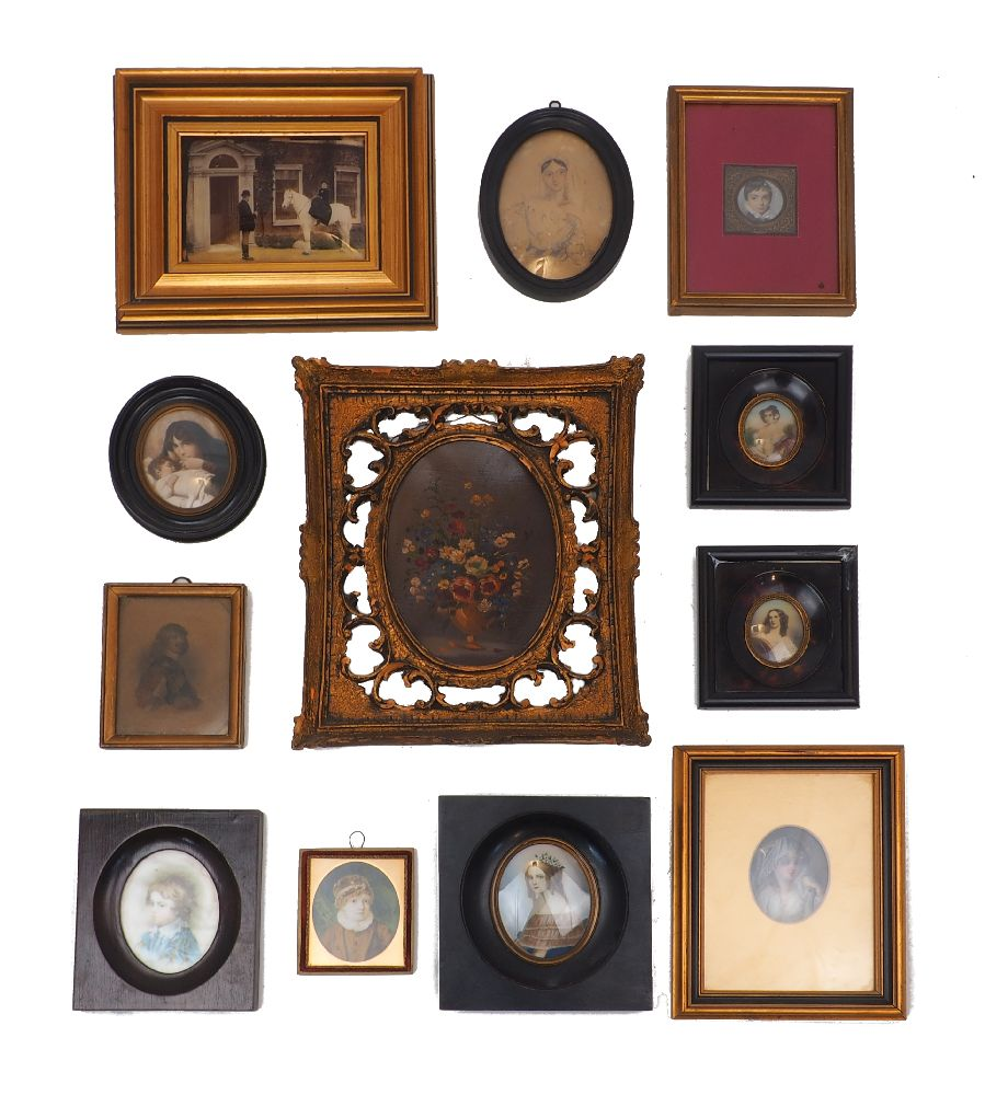 A group of portrait miniatures, 19th century and later, including: water colours, porcelain,