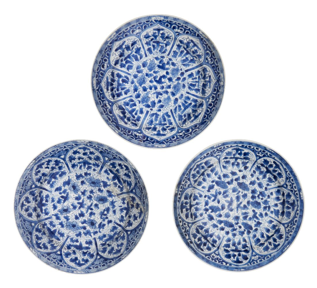 WITHDRAWN. Three Chinese porcelain dishes, Kangxi period, painted in underglaze blue with central