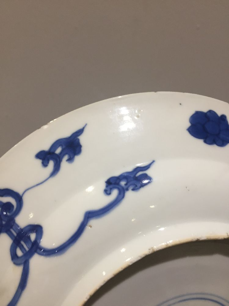 WITHDRAWN. Three Chinese porcelain dishes, Kangxi period, painted in underglaze blue with central - Image 26 of 35