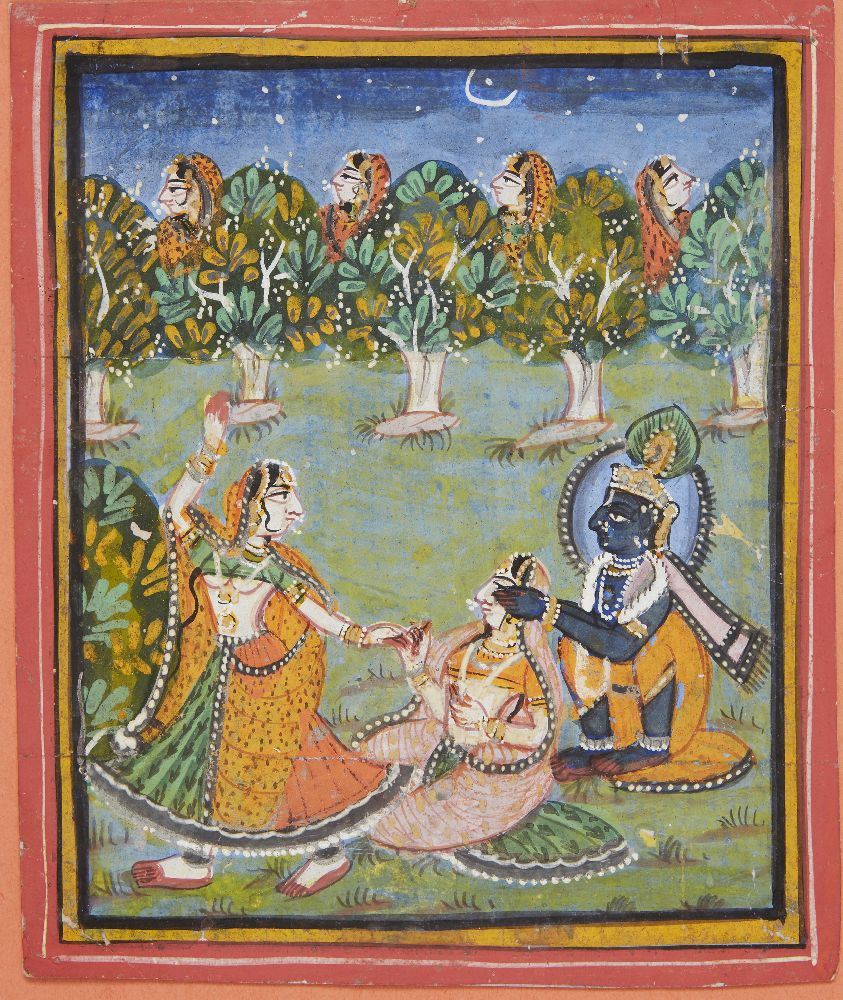 Krishna playing hide and seek with the gopis under a starlit sky, Rajasthan, 19th century, opaque