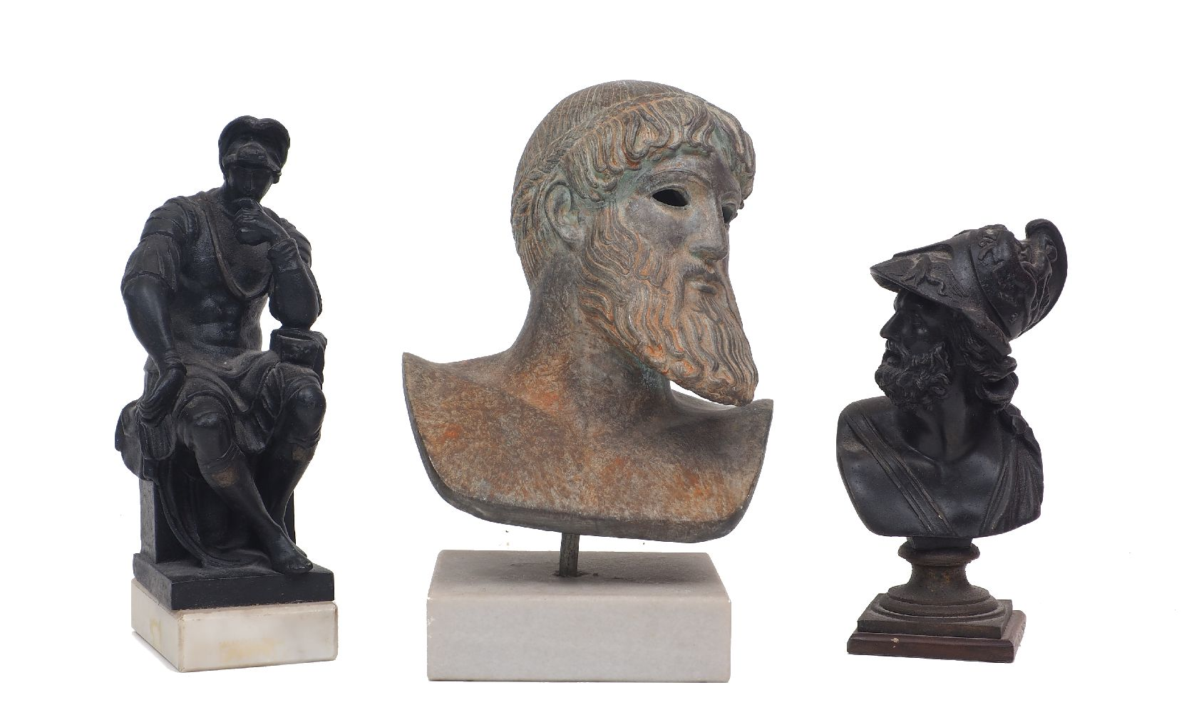 Three Grand Tour sculptures, 20th century, comprising: a spelter bust of Ajax, a spelter model of