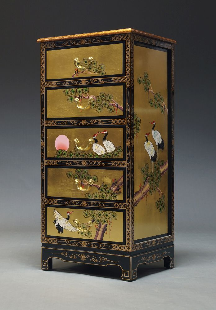 A Chinese lacquered and painted chest, late 20th century, with five drawers, decorated with