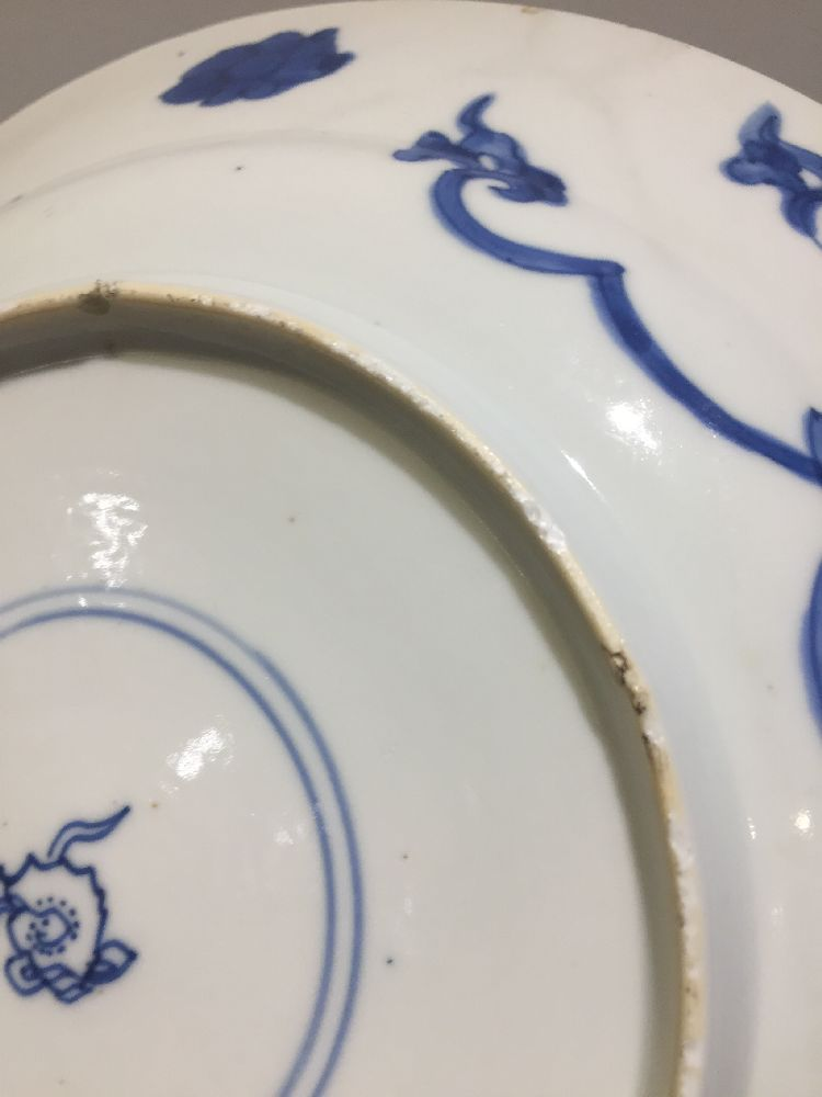 WITHDRAWN. Three Chinese porcelain dishes, Kangxi period, painted in underglaze blue with central - Image 24 of 35