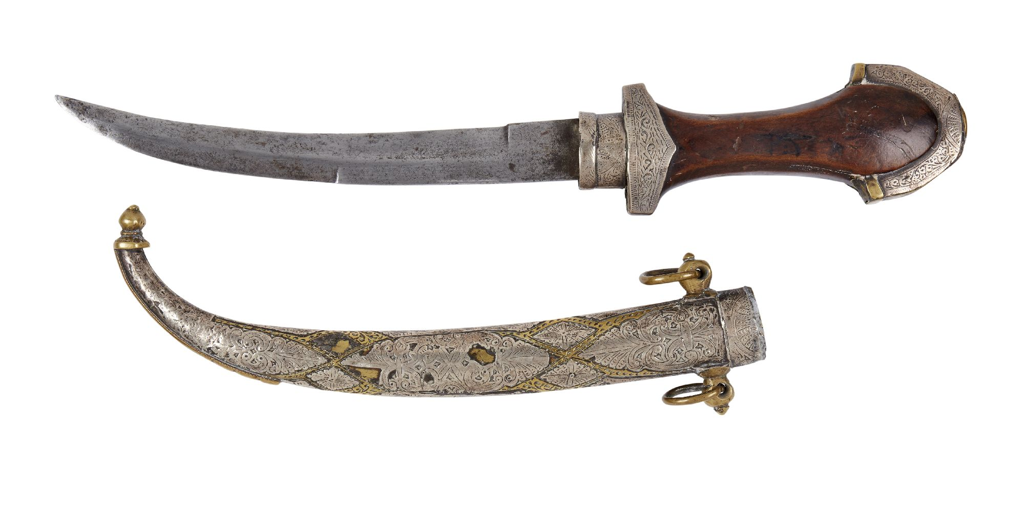 A kinjal, Yemen, early 20th century, the brass scabbard with engraved white metal mounts, 42cm
