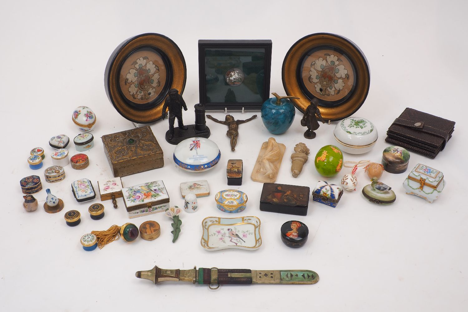A large group of object of vertu and sculpture, 20th century, to include: porcelain, enamel, tin and