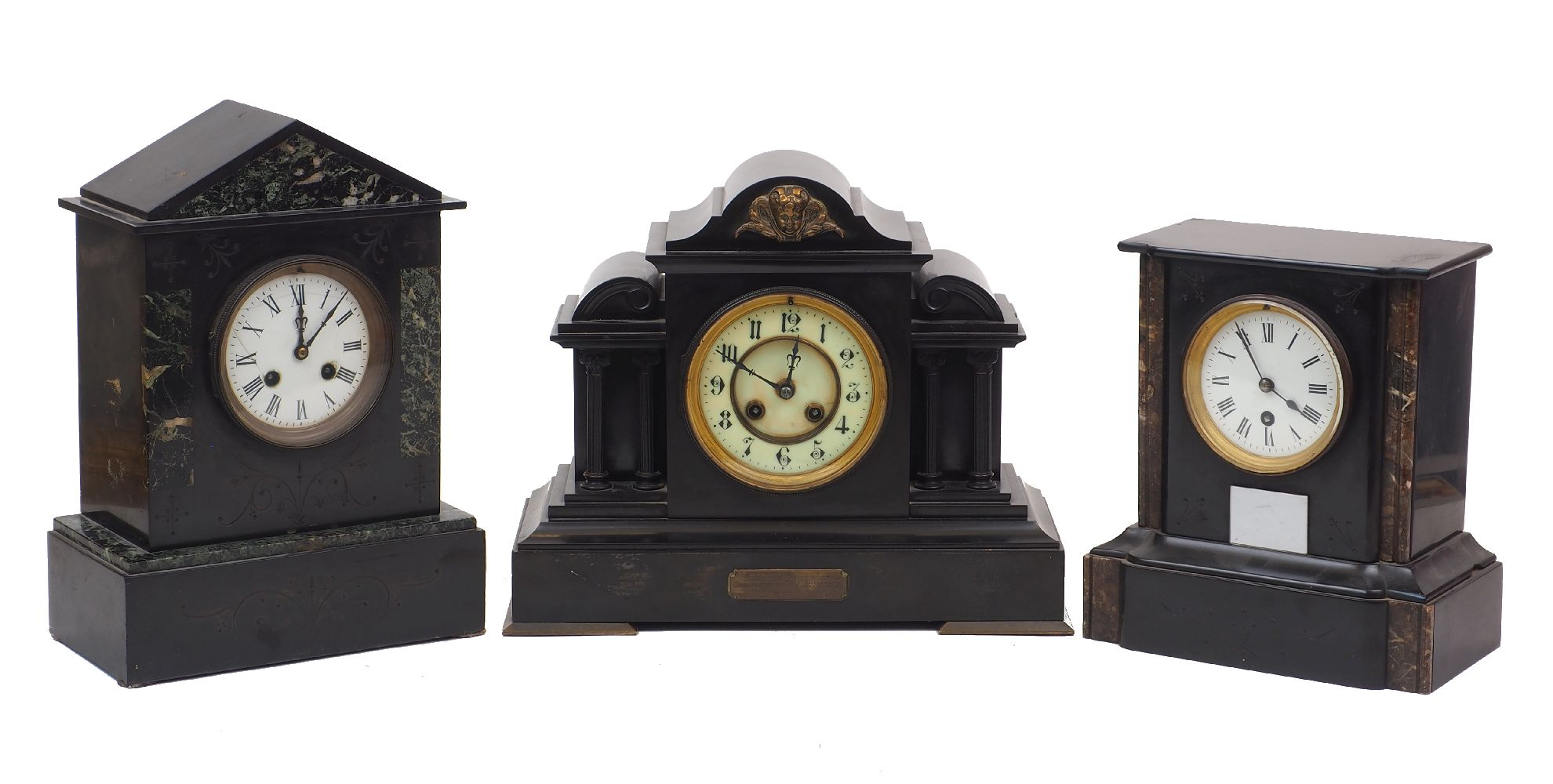 A group of three late Victorian slate and marble mantel clocks, late 19th/early 20th century, each