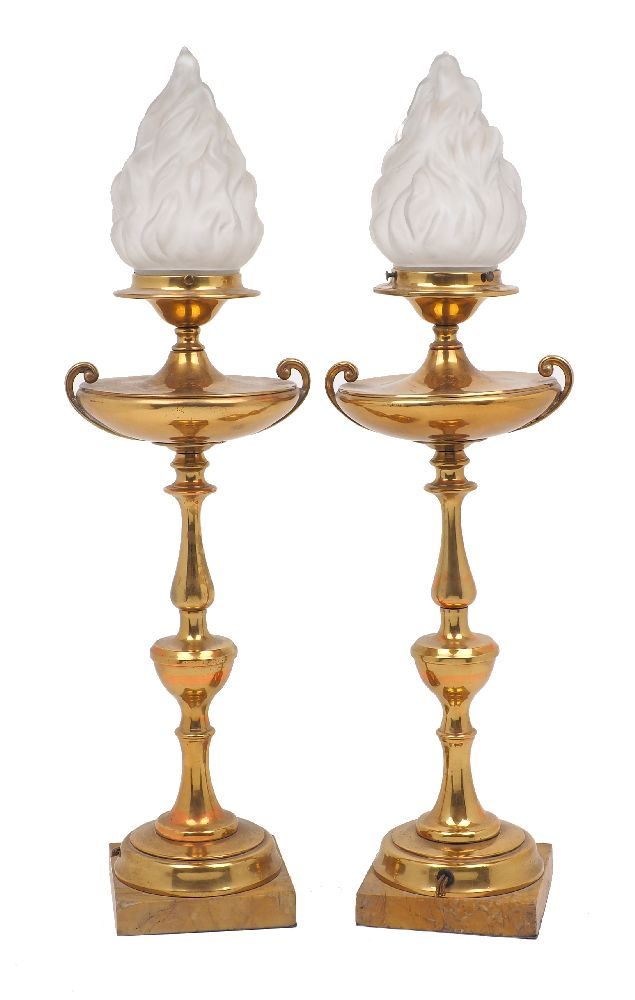 A pair of French gilt metal lights designed as oil lamps, 20th Century, the knopped baluster