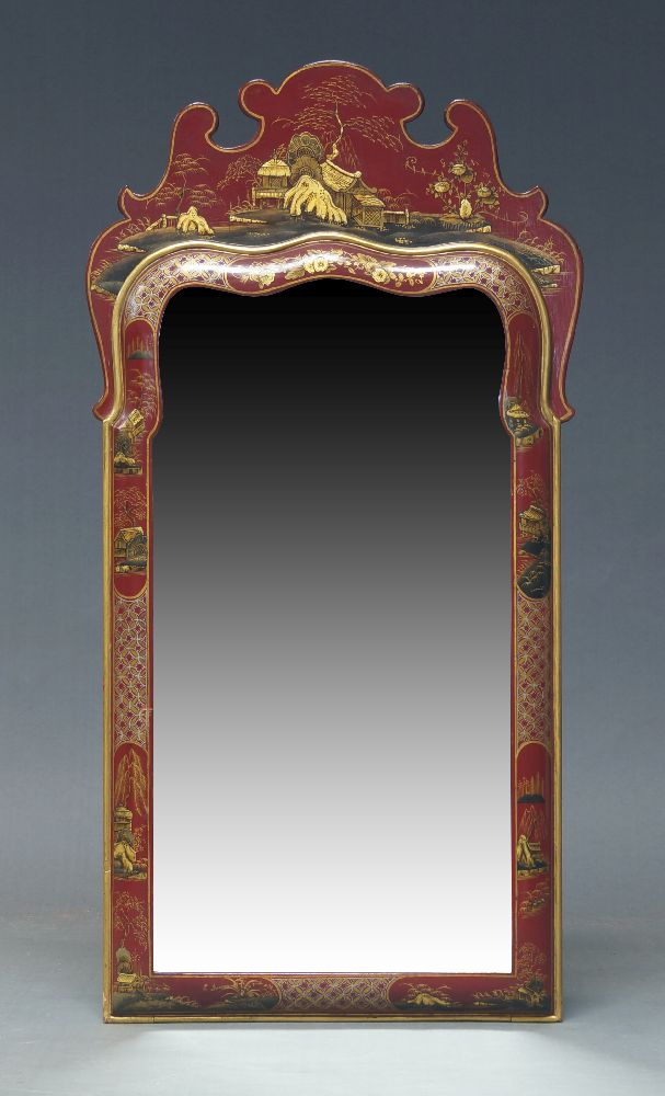 A George II style red lacquered and parcel gilt Chinoiserie wall mirror, mid to late 20th Century,