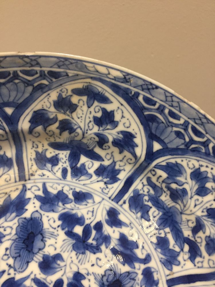 WITHDRAWN. Three Chinese porcelain dishes, Kangxi period, painted in underglaze blue with central - Image 8 of 35