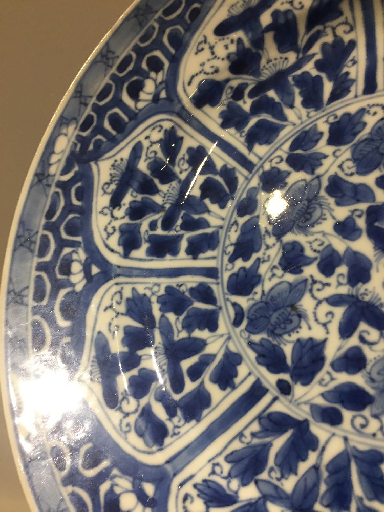 WITHDRAWN. Three Chinese porcelain dishes, Kangxi period, painted in underglaze blue with central - Image 23 of 35