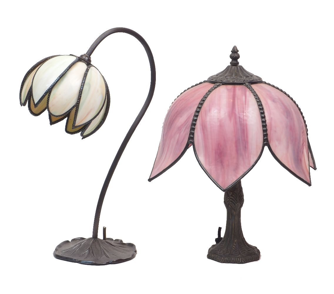 Two Art Nouveau style spelter table lamps, late 20th century, each modelled as a flowering stem,