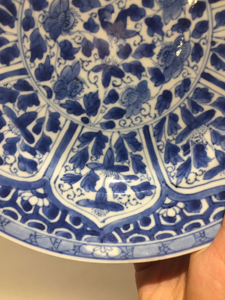 WITHDRAWN. Three Chinese porcelain dishes, Kangxi period, painted in underglaze blue with central - Image 31 of 35