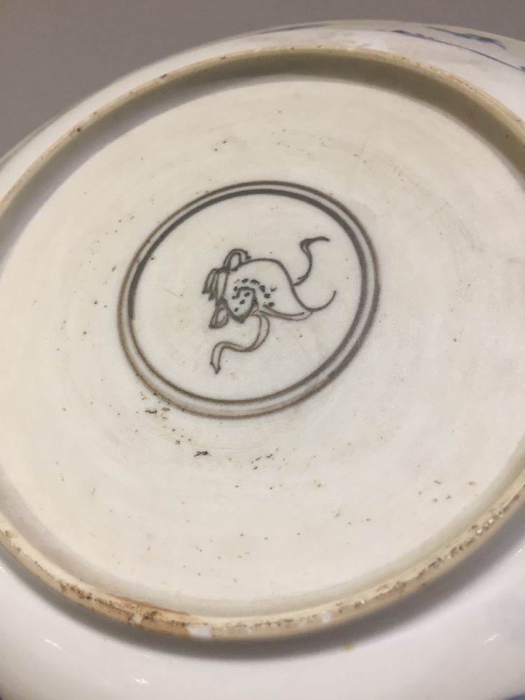 WITHDRAWN. Three Chinese porcelain dishes, Kangxi period, painted in underglaze blue with central - Image 16 of 35