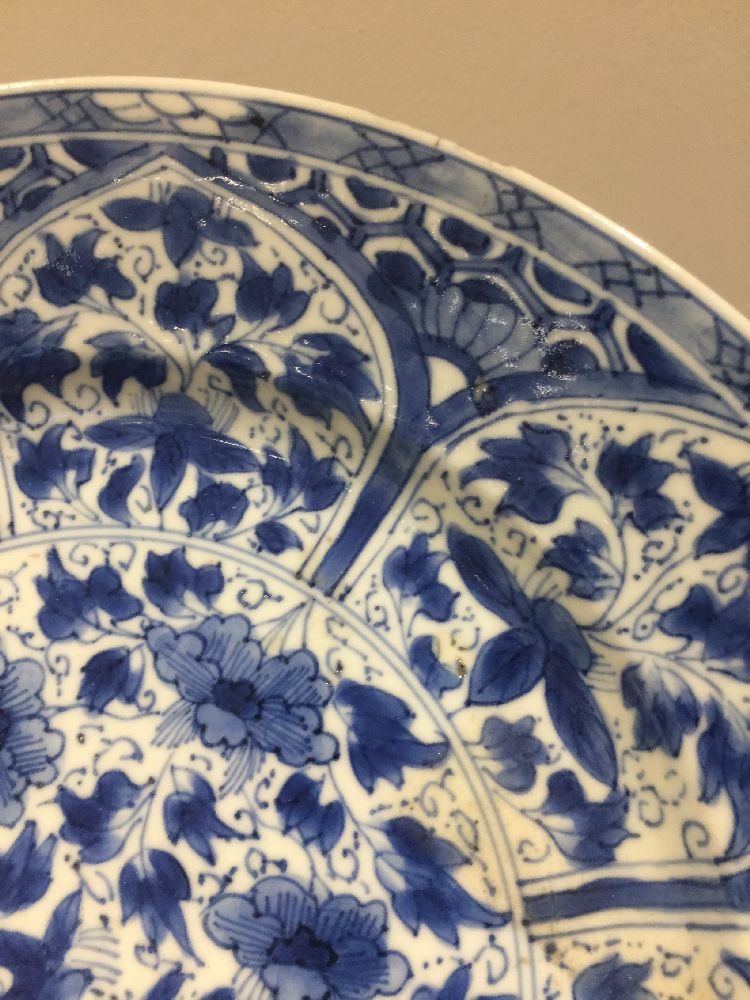 WITHDRAWN. Three Chinese porcelain dishes, Kangxi period, painted in underglaze blue with central - Image 6 of 35