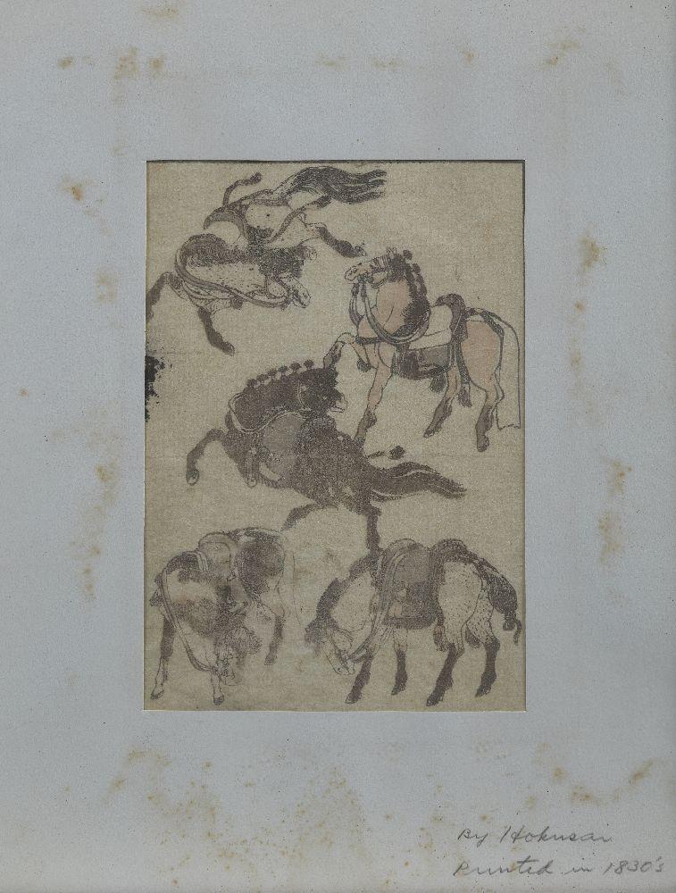 Katsushika Hokusai, Japanese 1760-1849, Hokusai Manga Plate, 19th century, a book plate depicting - Image 2 of 2