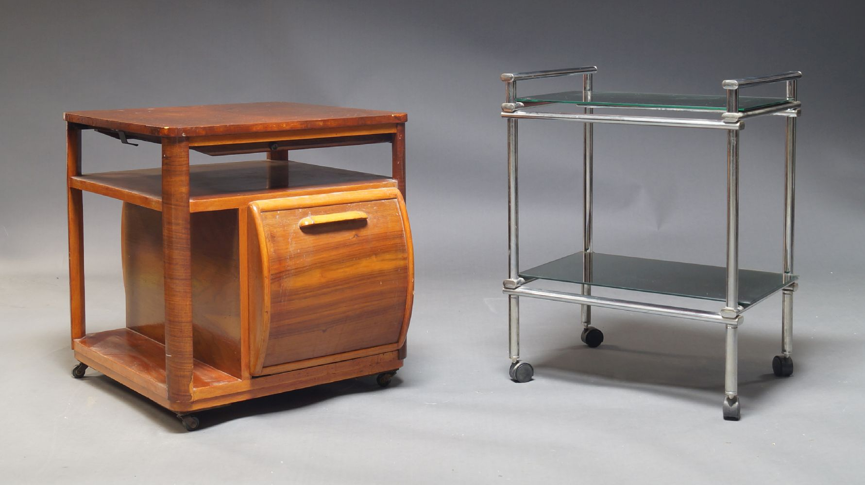 A figured walnut drinks table, c.1940, the square top above open shelf and fall front compartment