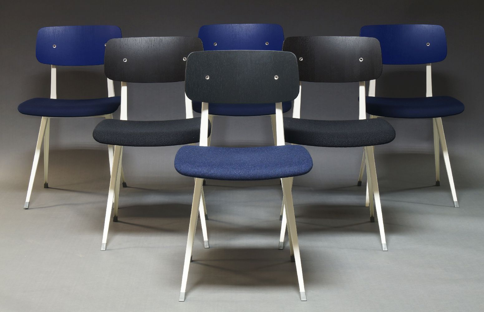 Friso Kramer & Wim Reitveld, six 'Result' chairs for Hay and Ahrend, of recent manufacture, three