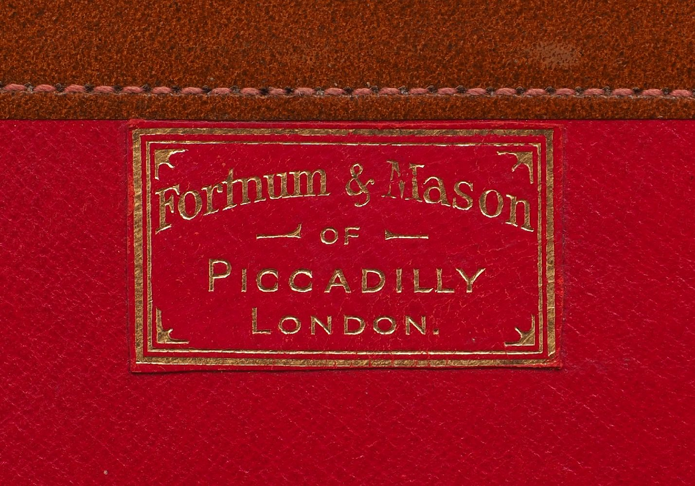 A Fortnum & Mason orange leather briefcase, mid 20th Century, outfitted with a gilt metal clasp - Image 2 of 2