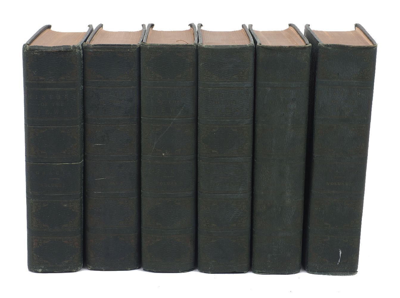 GRAETZ (H.), HISTORY OF THE JEWS, 6 Vols., green leather boards with gilt emblem to frontispiece,