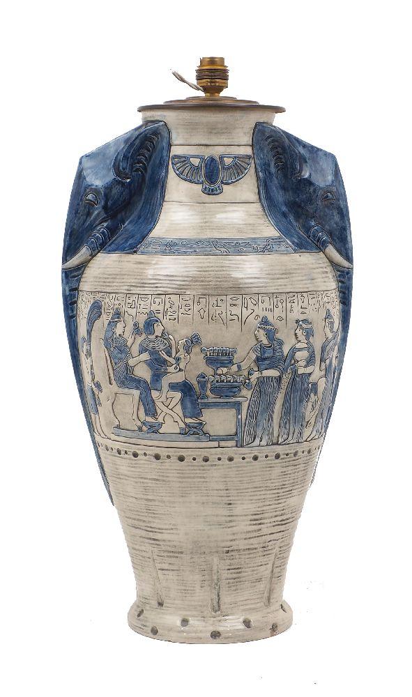 An Austrian Egyptian revival pottery lamp, by Julius Dressler, c.1920s, with elephant head