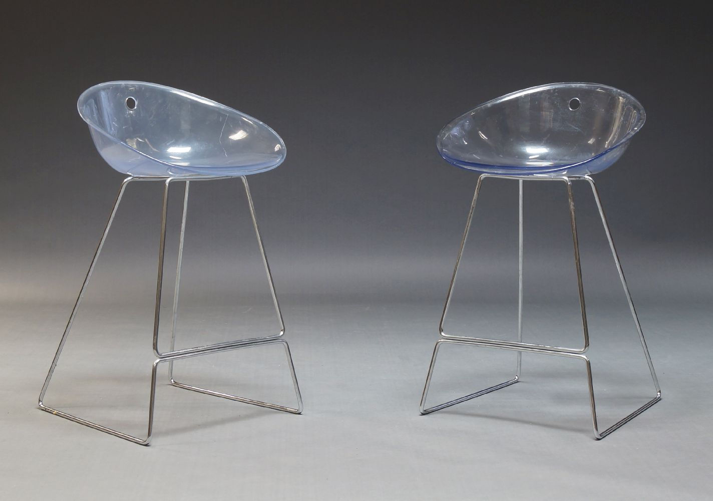 Pedrali, a pair of 'Gliss 902' bar stools, c.2000, with clear polycarbonate seats, on chromed