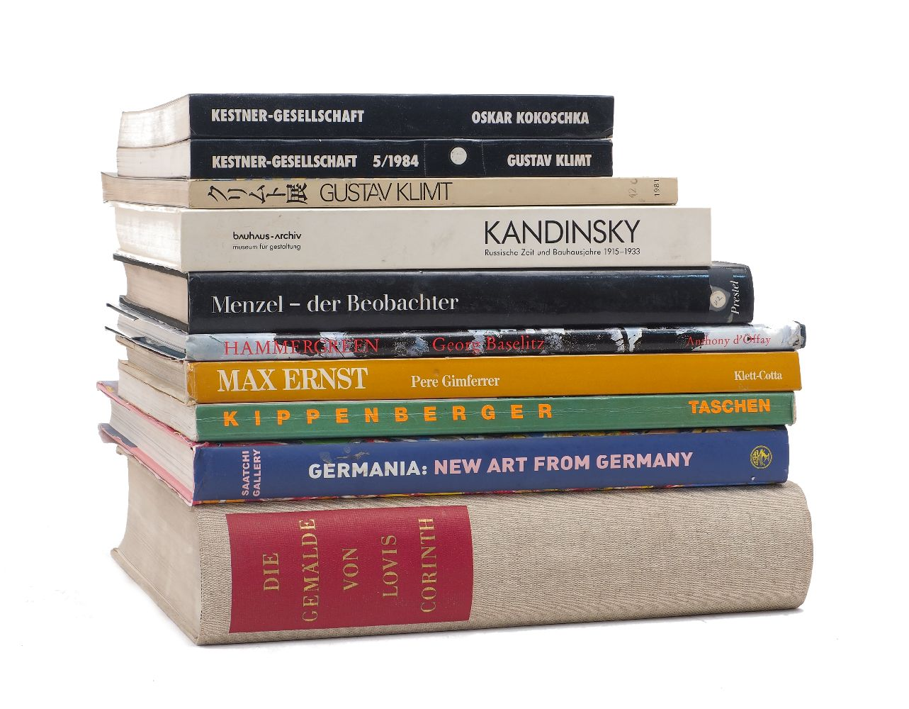 A collection of 20th Century art reference publications pertaining to German art, artists, and art