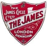 An enamel advertising sign for the James Cycle Co. Ltd., 'The James: London & Birmingham', late 19th