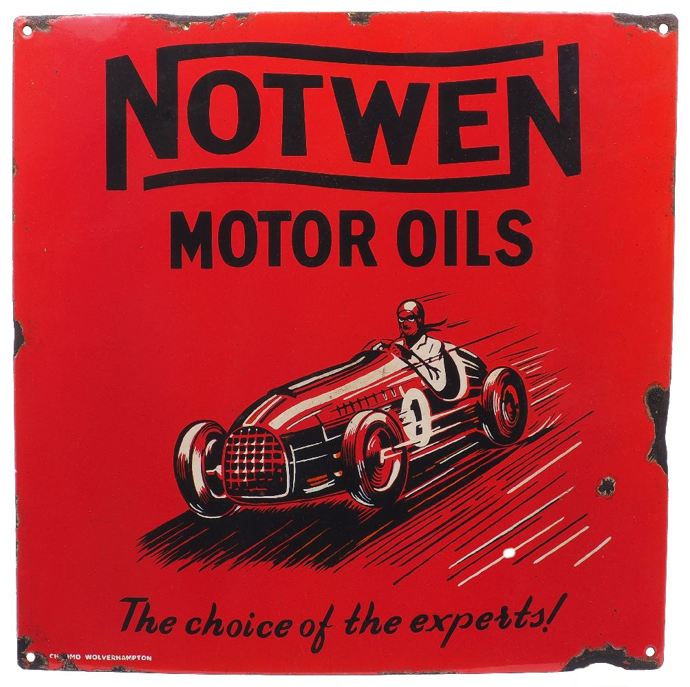 An enamel advertising sign for Notwen Motor Oils, 'The choice of the experts!', early 20th