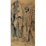Albert Locca, Swiss 1895-1966- A family in a street; pen and black ink and watercolour, signed,