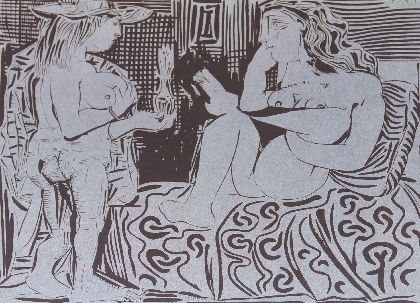 Pablo Picasso, Spanish 1881-1973- Two Women and Two Satyrs and Goat, 1962; two linocuts in colours - Image 2 of 2