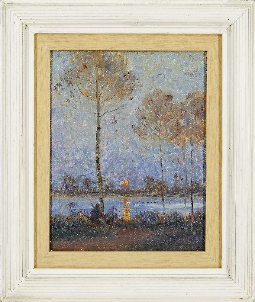 Claude Emile Schuffenecker, French 1851-1934- Coucher de soleil sur la rivière; oil on canvas laid - Image 2 of 3