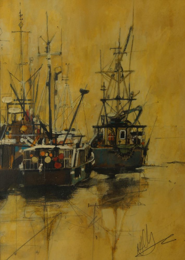David Addey, British b.1933- Junk in full sail, Stern of a junk, and Junk in Hong Kong Harbour; - Image 6 of 6