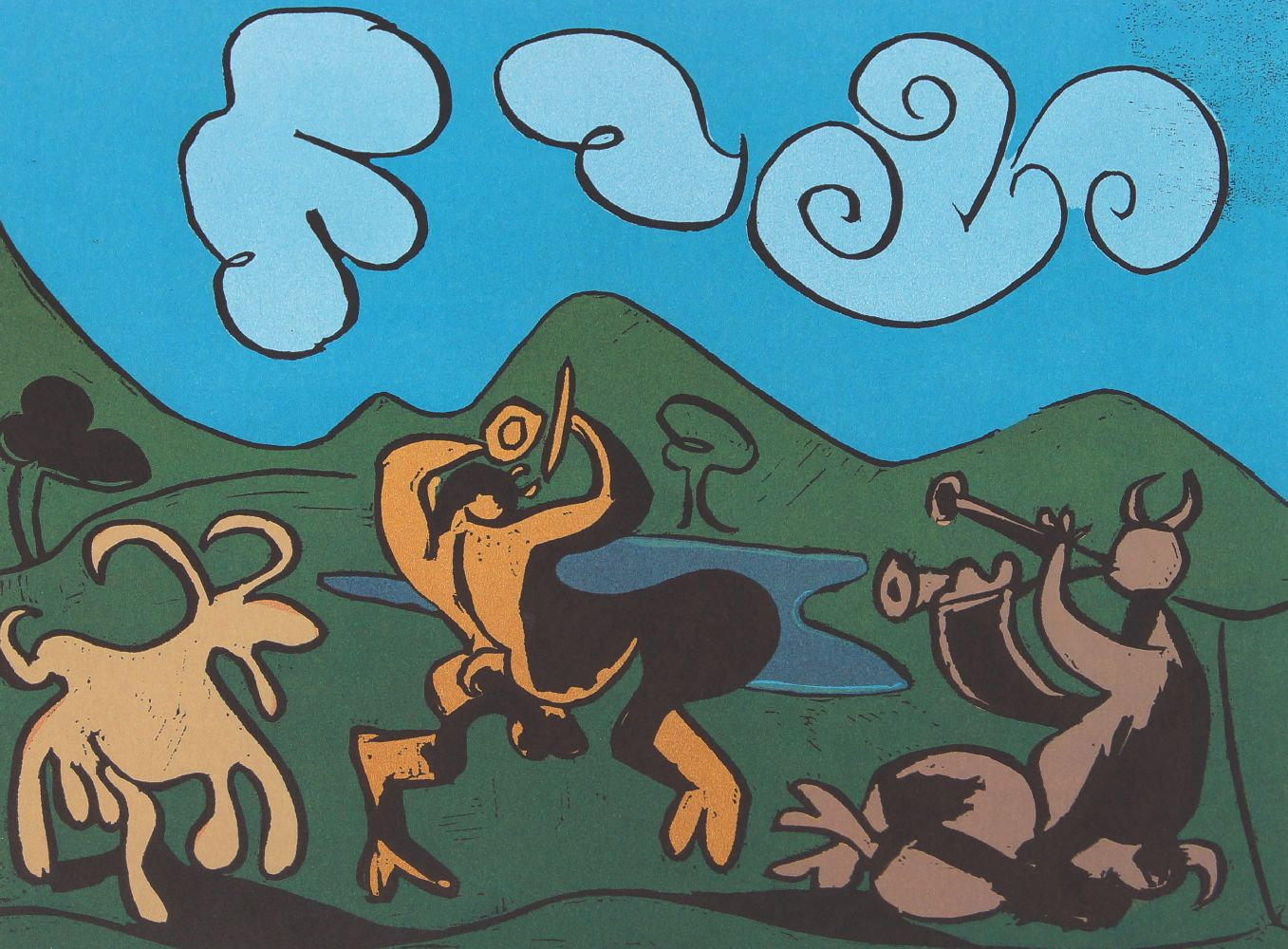 Pablo Picasso, Spanish 1881-1973- Two Women and Two Satyrs and Goat, 1962; two linocuts in colours