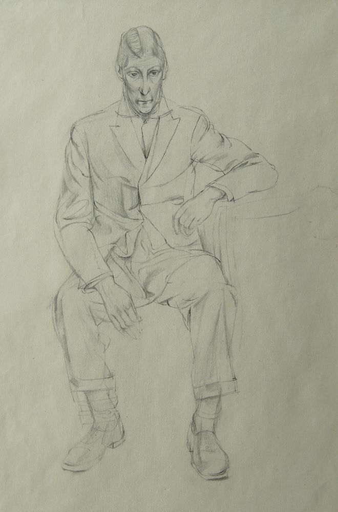 British School, early 20th century- Portrait sketch of a seated man; pencil, 33.5x23.5cm This work