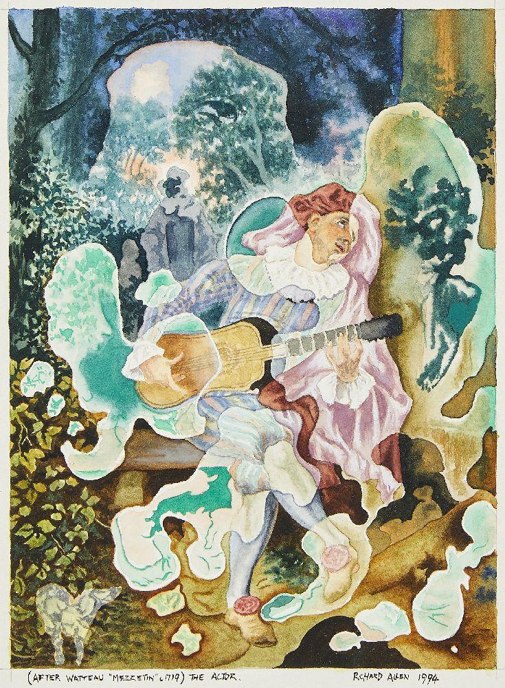 "Richard Allen, British, mid-late 20th century- The Actor, after Watteau ""Mezzetin"" c1719;"